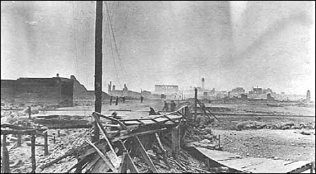 View of Hinckley's main street the morning after the fire
