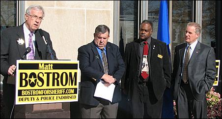 Left to right: Tom Foley, Ramsey County Commissioner Tony Bennett, former St. Paul Police Chief John Harrington and Matt Bostrom.