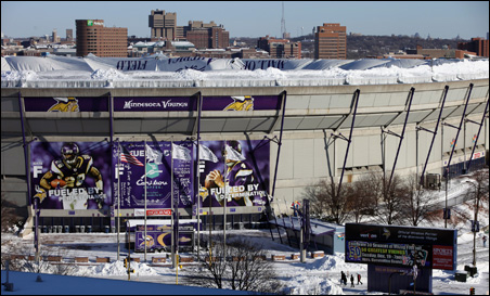 The Teflon roof of the Mall of America Field at the Hubert H. Humphrey Metrodome collapsed on Sunday after 17 inches of snowfall.
