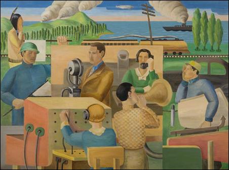 'Communications' by Ingrid E. Edwards, 1936, oil on board
