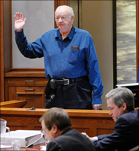 Eugene Markman of Waite Park takes the oath Tuesday before testifying about his rejected absentee ballot.