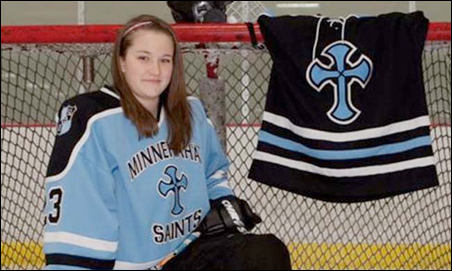 Jenna Privette of St. Croix Lutheran High in St. Paul remains hospitalized; as of Monday, she could not move her legs or feet.