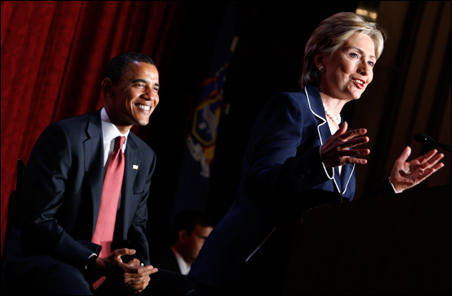 Sens. Barack Obama and Hillary Clinton appear together at the July Women for Obama campaign event in New York.