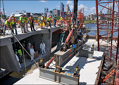 Workers labored around the clock to complete the bridge ahead of schedule.