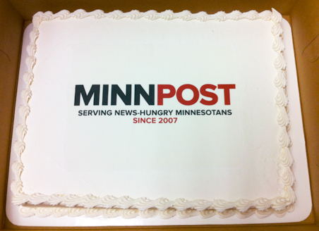 A thoughtful approach to cake: The new MinnPost logo adorning the 4th birthday cake.