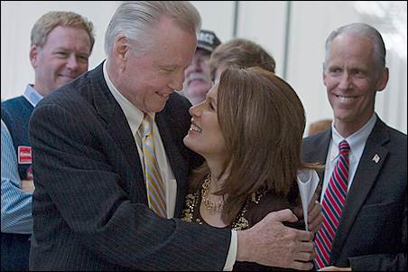Actor Jon Voight and Rep. Michele Bachmann were on hand for Saturday's GOP rally in Blaine.