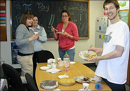 Augsburg College math students Katie Pendo, left, Jenny Klemenhagen, Andrea Toft and Bill Helm