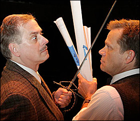 Steve Hendrickson, left, as Tyrone Guthrie and Mark Benninghofen, right, as Ralph Rapson.