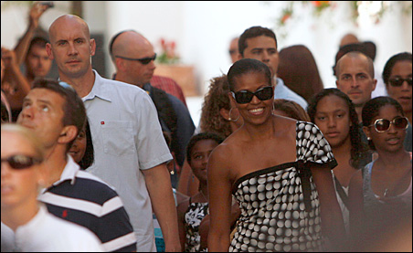 Michelle Obama walks to the historic center of the southern Spanish town of Marbella on Wednesday.