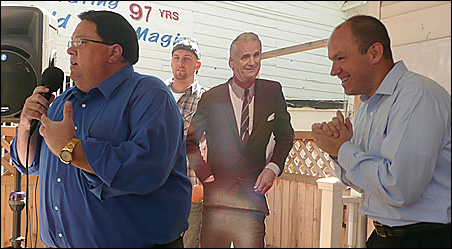 Minnesota Republican Chair Tony Sutton and a gleeful Michael Brodkorb, deputy chair, go after Mark Dayton at an opening-day State Fair event.