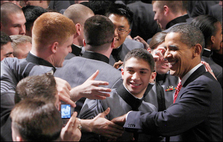 President Obama greets cadets at the U.S. Military Academy in West Point, New York, following Tuesday's speech.
