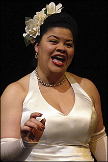 "Thomasina Petrus portrays Billie Holiday in ""Lady Day at Emerson's Bar & Grill,"" now playing through May 4."