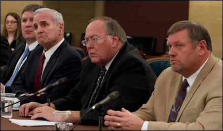 Left to right: Speaker Zellers, Gov. Dayton, Senate Majority Leader Senjem and Senate Minority Leader Bakk.