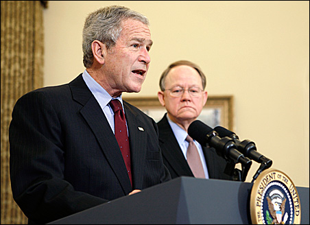 President Bush lobbied hard Wednesday in support of a Senate bill that would grant retroactive immunity to telecom companies that took part in his warrantless eavesdropping program. He was accompanied by Mike McConnell, director of national intelligence.