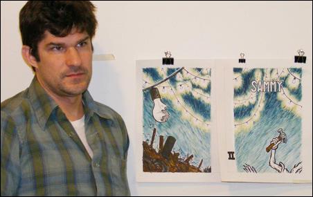 Zak Sally with Sammy the Mouse #2 prints in his Northeast Minneapolis studio.