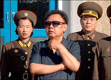 North Korean leader Kim Jong-il visits a military unit in this photo released Aug. 11.