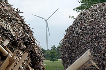 Biomass, in the form of corn refuse (foreground), and wind turbines are providing jobs as well as energy in Morris.