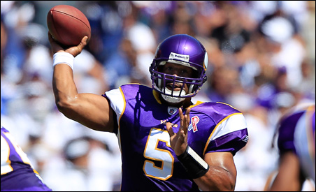 Donovan McNabb throwing a rare pass against the San Diego Chargers on Sunday.