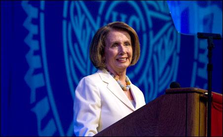 "Former House Speaker Nancy Pelosi, who spoke Wednesday, was hailed as ""a great friend of veterans"" by Jimmie Foster, American Legion national commander."