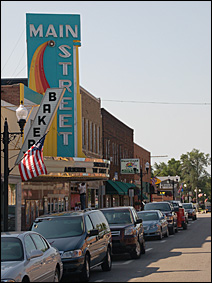 Store fronts in Sauk Centre honor Sinclair Lewis, including the Main Street Theater.