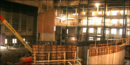 Reconstruction is about to start inside the gutted cavernous shell of Northrop Auditorium.