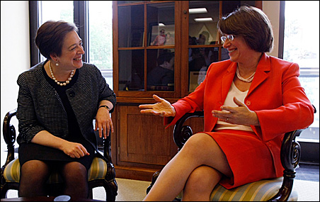 Supreme Court Justice nominee Elena Kagan, left, chats with Sen. Amy Klobuchar on Thursday.