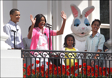 President Barack Obama, first lady Michelle Obama and their daughters Sasha and Malia are pictured alongside the Easter Bunny during the 2010 Easter Egg Roll on Monday.