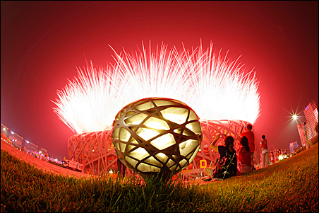 Fireworks explode at Friday's opening ceremonies of the Beijing 2008 Olympic Games at the National Stadium, also known as the Bird's Nest.