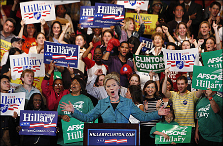 Hillary Rodham Clinton addresses supporters at her Pennsylvania primary election night rally in Philadelphia.