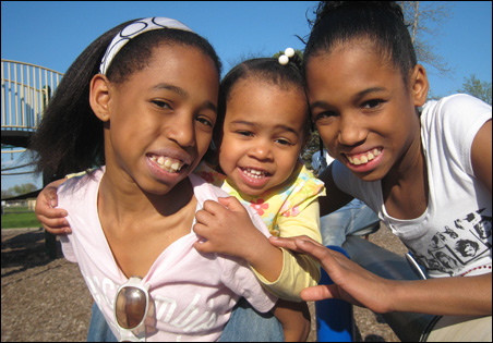 Olivia, Quinnlyn and Madison Tate enjoy an outing to the park.