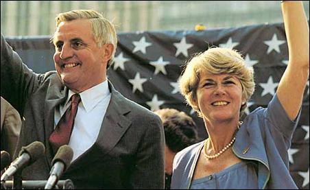 Former Vice President Walter Mondale and Rep. Geraldine Ferraro on the campaign trail in 1984.