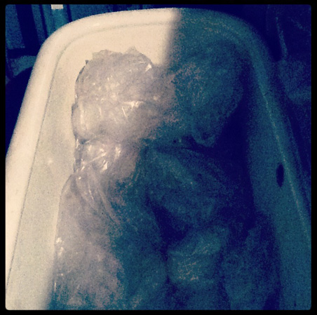 A bathtub with plastic sheeting; this must be where they keep Laura Palmer