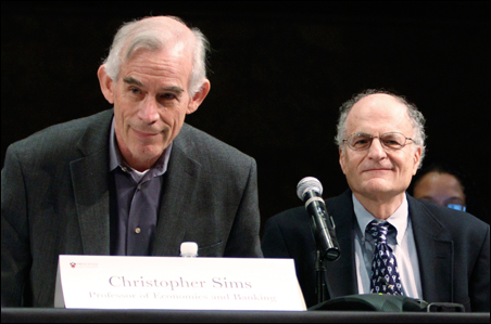 Professors Christopher Sims and Thomas Sargent attend a news conference at Princeton University on Monday.