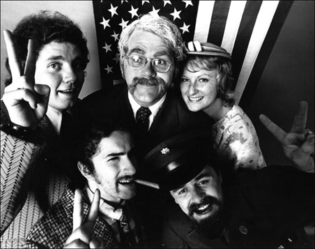 "A sign of the times: Dudley Riggs' comedy troupe skewers the U.S. of A. in this 1968 presentation of ""Yankee Doodle Dum Dum."""