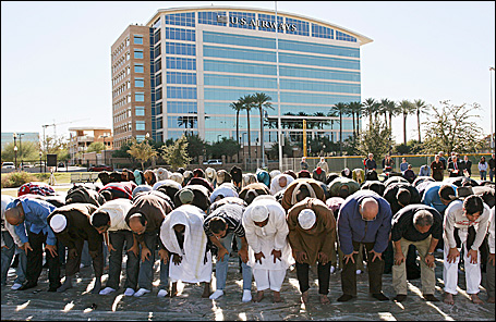 Muslims and members of Interfaith Groups gather for a congregational prayer service