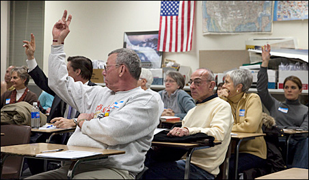 Senate District 33 caucus participants volunteer to be considered for GOP delegate positions.
