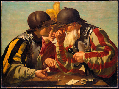 Hendrick Ter Brugghen (Dutch, 1588-1629), The Gamblers, 1623 (pre-conservation), oil on canvas, The William Hood Dunwoody Fund