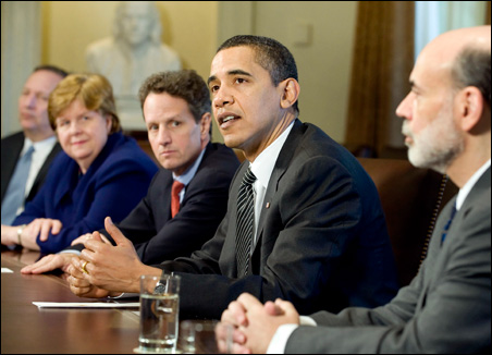President Barack Obama receives an economic briefing today. With him are,  left to right, Lawrence Summers, Christina Romer, Timothy Geithner and Ben Bernanke.