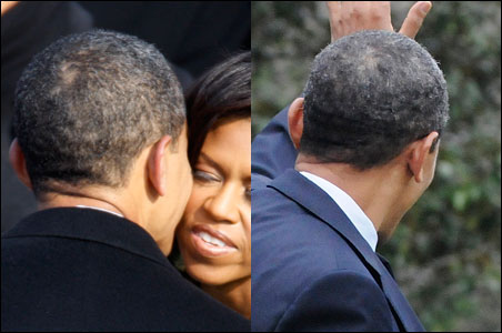 Left: President Obama hugs First Lady Michelle Obama on the day of his inauguration. Right: a grayer Obama waves to crowds before departing for Kansas on Tuesday.