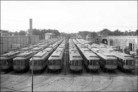Twin City Rapid Transit streetcars sit at 3110 Nicollet Avenue, in Minneapolis.