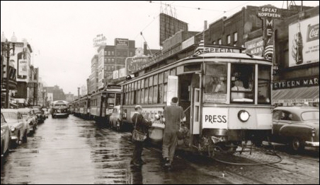 The last run of the streetcars in Minneapolis on June 19,1954.
