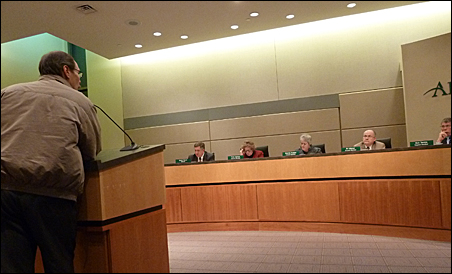 Cliff Bujold of Arden Hills spoke out against a Vikings stadium resolution at the Arden Hills City Council Monday night.