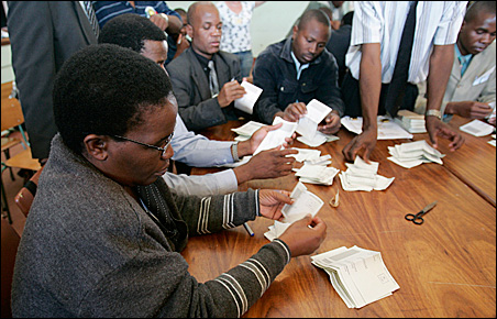 Zimbabwe election officials started a partial recount of ballots over the weekend in Domboshawa, outside the capital Harare.