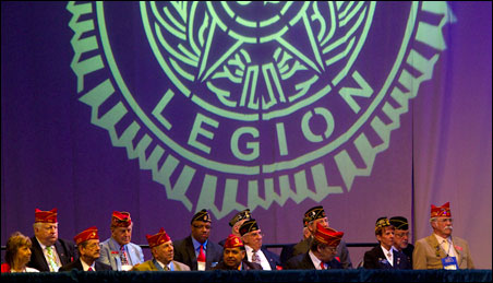"""Former House Speaker Nancy Pelosi was invited to speak this morning because """"she's been a great friend of veterans,"""" according to Jimmie Foster, the Legion's national commander."""