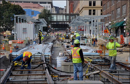 The construction of the rail line on Fourth Street near Union Depot in downtown St. Paul.