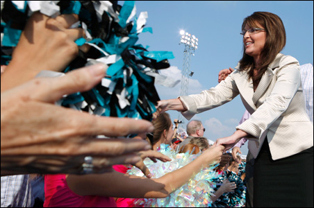 Plenty of handshakes for Sarah Palin as she campaigns Sunday in O'Fallon, Mo.