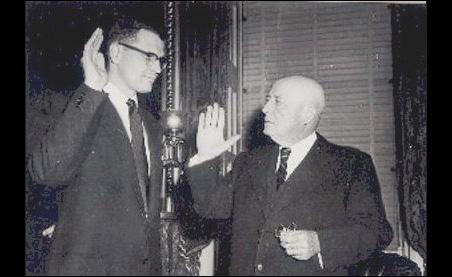 Rep. John Dingell being sworn in by Speaker of the House Sam Rayburn in 1955.