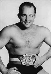 Verne Gagne in 1953 wearing United States Heavyweight Championship belt.