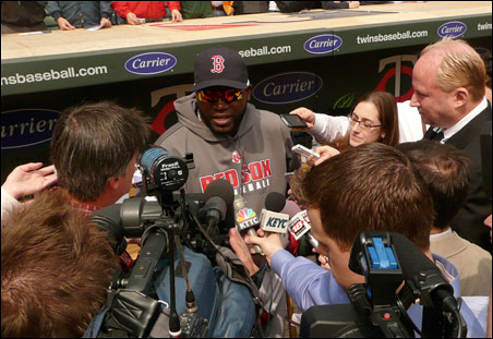 Red Sox designated hitter David Ortiz, a former Twin, holds court before the game.