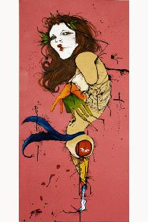 "Sylvia Ortiz, ""Kissy Fishy Face #1,"" acrylic, ink on canvas."